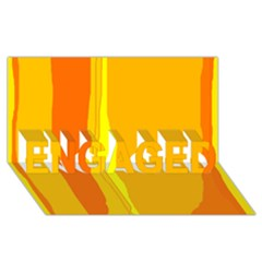 Yellow and orange lines ENGAGED 3D Greeting Card (8x4)