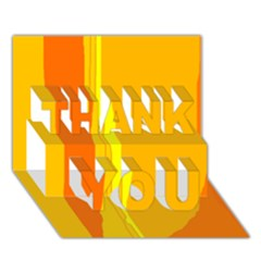 Yellow and orange lines THANK YOU 3D Greeting Card (7x5)