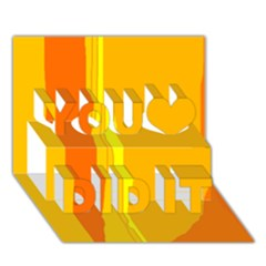 Yellow and orange lines You Did It 3D Greeting Card (7x5)