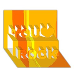Yellow and orange lines You Rock 3D Greeting Card (7x5)