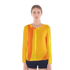 Yellow and orange lines Women s Long Sleeve Tee