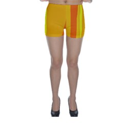 Yellow and orange lines Skinny Shorts