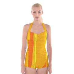 Yellow and orange lines Boyleg Halter Swimsuit