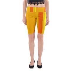 Yellow and orange lines Yoga Cropped Leggings