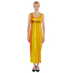 Yellow and orange lines Fitted Maxi Dress
