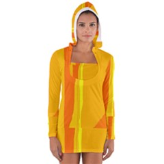Yellow And Orange Lines Women s Long Sleeve Hooded T Shirt