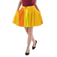 Yellow And Orange Lines A Line Pocket Skirt