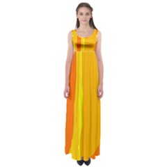 Yellow And Orange Lines Empire Waist Maxi Dress
