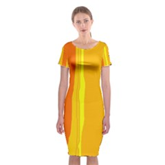 Yellow And Orange Lines Classic Short Sleeve Midi Dress
