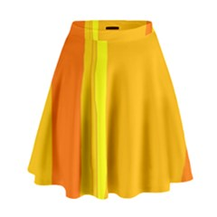 Yellow And Orange Lines High Waist Skirt