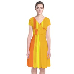 Yellow and orange lines Short Sleeve Front Wrap Dress