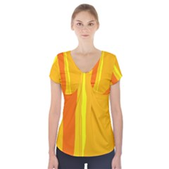 Yellow and orange lines Short Sleeve Front Detail Top