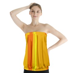 Yellow and orange lines Strapless Top