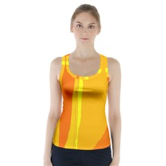 Yellow and orange lines Racer Back Sports Top