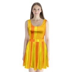 Yellow and orange lines Split Back Mini Dress