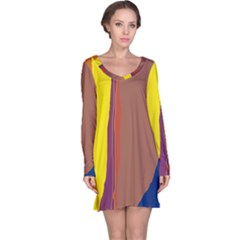 Colorful lines Long Sleeve Nightdress