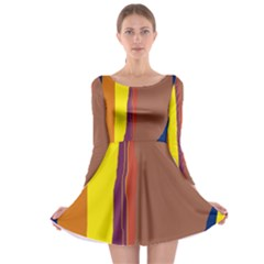 Colorful lines Long Sleeve Skater Dress