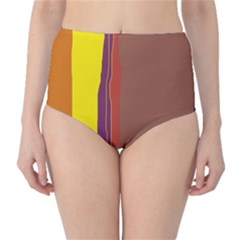 Colorful lines High-Waist Bikini Bottoms