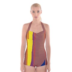 Colorful lines Boyleg Halter Swimsuit