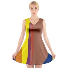 Colorful Lines V Neck Sleeveless Skater Dress