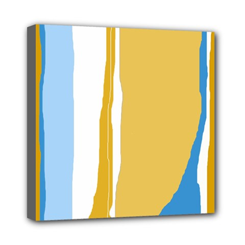 Blue And Yellow Lines Mini Canvas 8  X 8