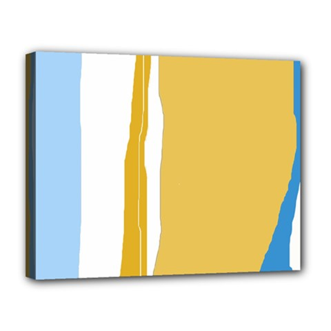 Blue and yellow lines Canvas 14  x 11
