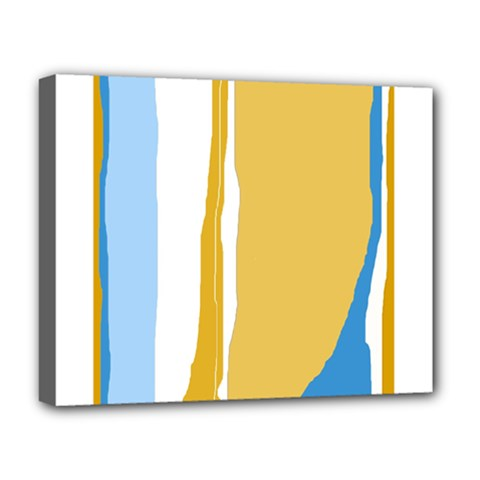 Blue and yellow lines Deluxe Canvas 20  x 16