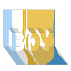 Blue and yellow lines BOY 3D Greeting Card (7x5)