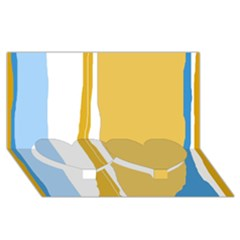 Blue And Yellow Lines Twin Heart Bottom 3d Greeting Card (8x4)