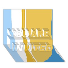 Blue and yellow lines YOU ARE INVITED 3D Greeting Card (7x5)