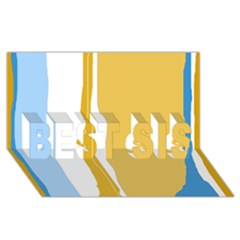 Blue and yellow lines BEST SIS 3D Greeting Card (8x4)