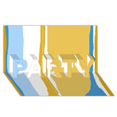 Blue and yellow lines PARTY 3D Greeting Card (8x4)