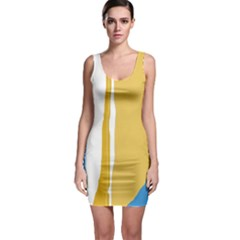 Blue and yellow lines Sleeveless Bodycon Dress