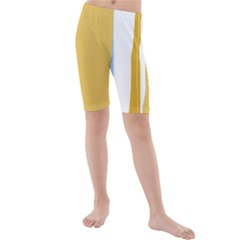 Blue and yellow lines Kid s Mid Length Swim Shorts
