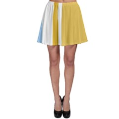 Blue and yellow lines Skater Skirt