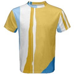 Blue and yellow lines Men s Cotton Tee