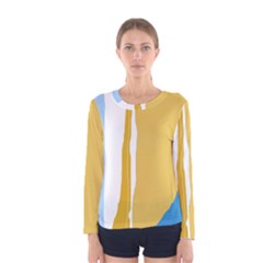 Blue and yellow lines Women s Long Sleeve Tee