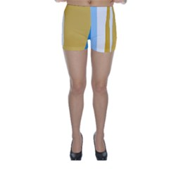 Blue and yellow lines Skinny Shorts