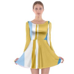 Blue and yellow lines Long Sleeve Skater Dress