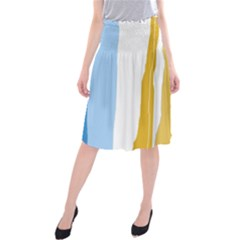 Blue and yellow lines Midi Beach Skirt
