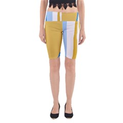 Blue and yellow lines Yoga Cropped Leggings