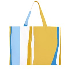 Blue and yellow lines Large Tote Bag