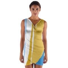 Blue and yellow lines Wrap Front Bodycon Dress