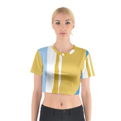Blue and yellow lines Cotton Crop Top