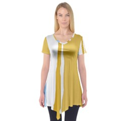 Blue And Yellow Lines Short Sleeve Tunic