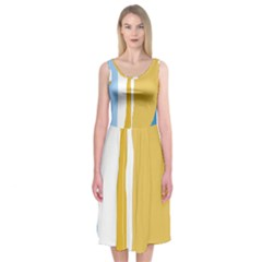 Blue And Yellow Lines Midi Sleeveless Dress