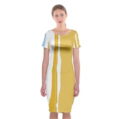 Blue And Yellow Lines Classic Short Sleeve Midi Dress