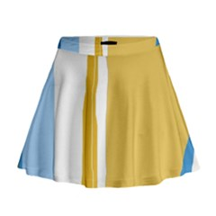 Blue and yellow lines Mini Flare Skirt