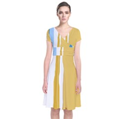 Blue and yellow lines Short Sleeve Front Wrap Dress
