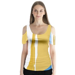 Blue and yellow lines Butterfly Sleeve Cutout Tee
